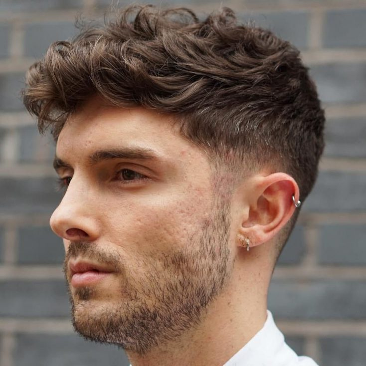Curly Fringe High Fade